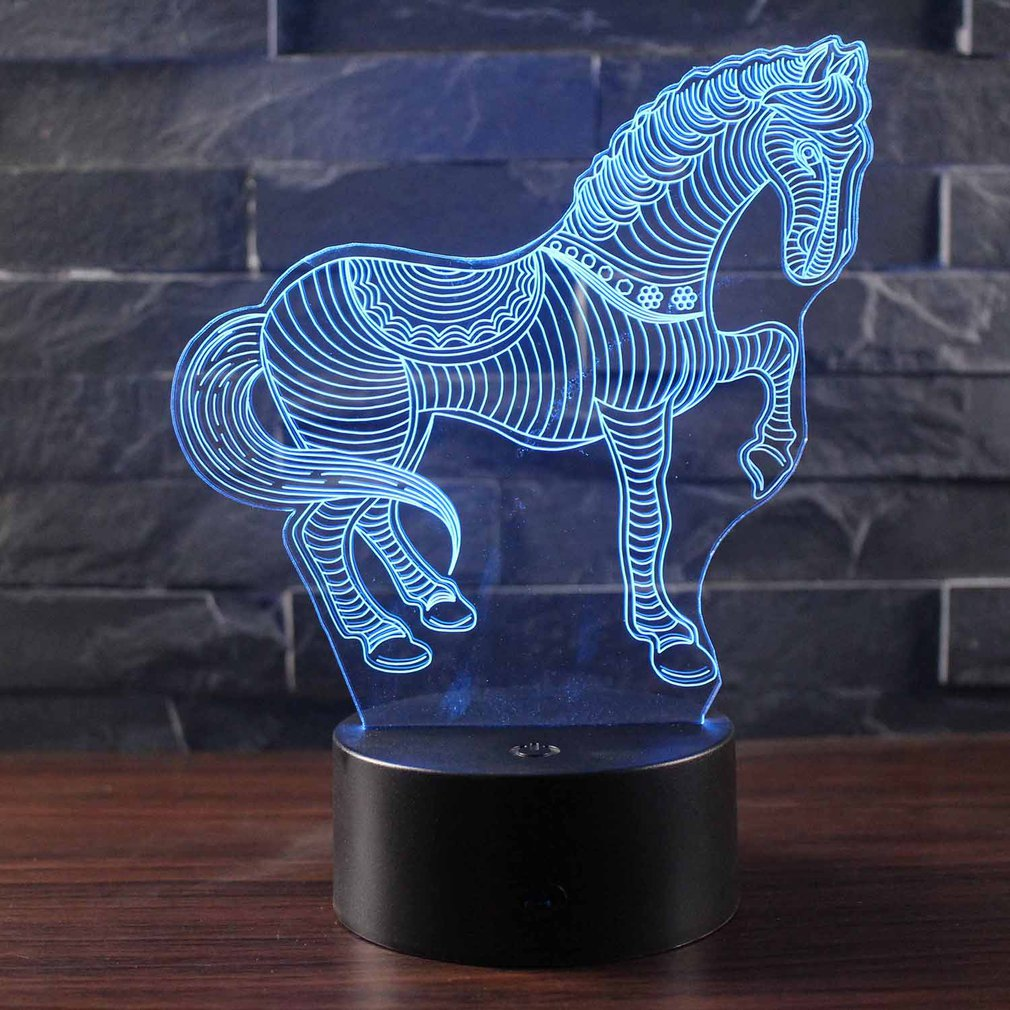 Horse 3D Stereo Vision Lamp Acrylic 7 Colors Changing USB Bedroom Bedside Night Light Desk Lamp Best Gifts touch remote control