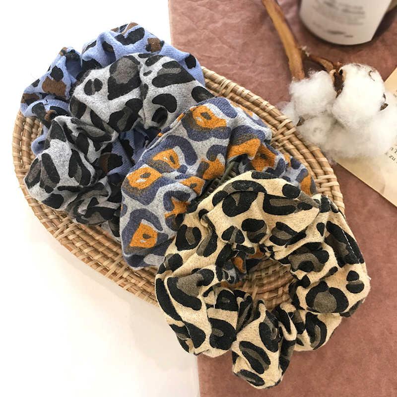 2019 yeni Vintage leopar saç halka renkli elastik saç bantları Scrunchie kadın moda saç aksesuarları halat bağları kızlar şapkalar