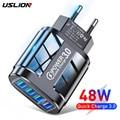 USLION машинка для стрижки 48 Вт USB зарядное устройство для быстрой зарядки QC 3,0 стены зарядки для iPhone 12 11 Samsung Мобильный телефон Xiaomi 4 порта ЕС и С...