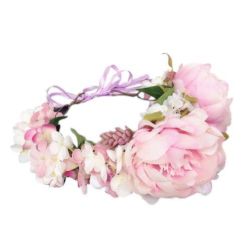 Folha de Dama de Honra Casamento Nupcial Romântico Doce Bandana Grinalda Simulação Multi Flor Suculenta Garland Tiara Coroa