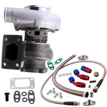 Anti-Surge Turbo-Charger T3 Flange GT3037 500 .82 HP Oil-In--Return-Line-Kits 4-Bolt
