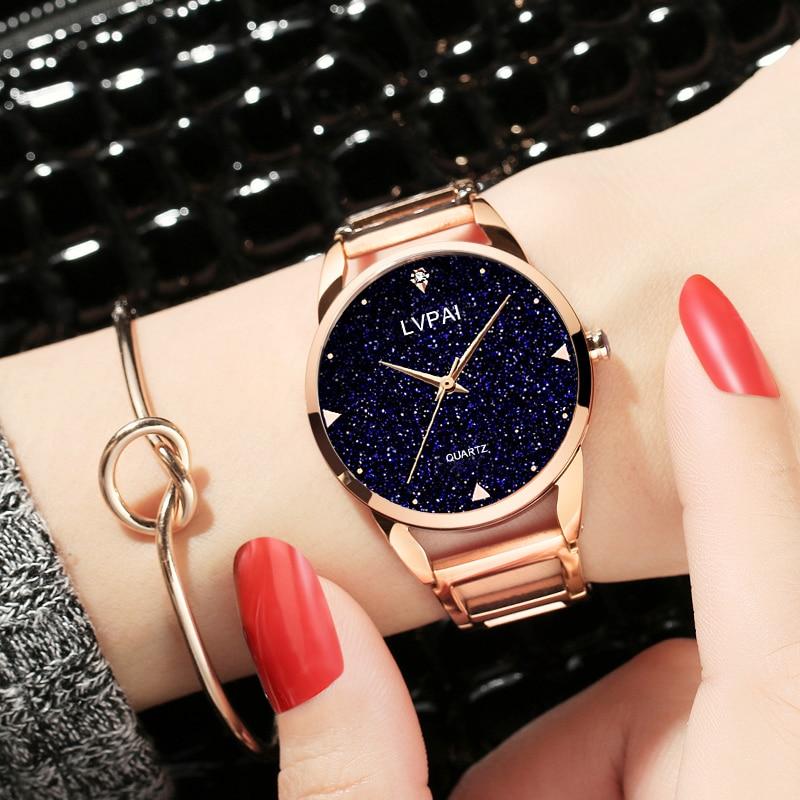 Lvpai Ladies Bracelet Watch Waterproof Simple Watch Women Fashion Casual Crystal Starry Sky Women Watches Brand 2019 New