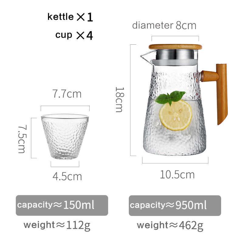 Oneisall 水ピッチャーガラスケトル 950 ミリリットルにくい透明ティーポットコーヒージュースジャグステンレスストレーナー機能