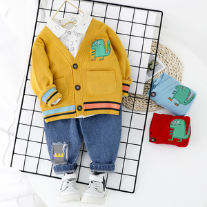 Image 2 - Toddler Boy Clothes Sets For Boy Girl Baby 2020 New Fashion Dinosaur 3pcs Knit Coat Shirt Jeans Set Clothing Boys 1 2 3 4 Year