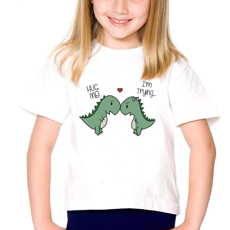 Peluk Aku Aku Mencoba Dinosaurus Lucu Anak T Shirt Anak Laki-laki Perempuan Musim Panas Pendek Lengan Kawaii Top Tee Shirt anak-anak Tshirt 3-12T
