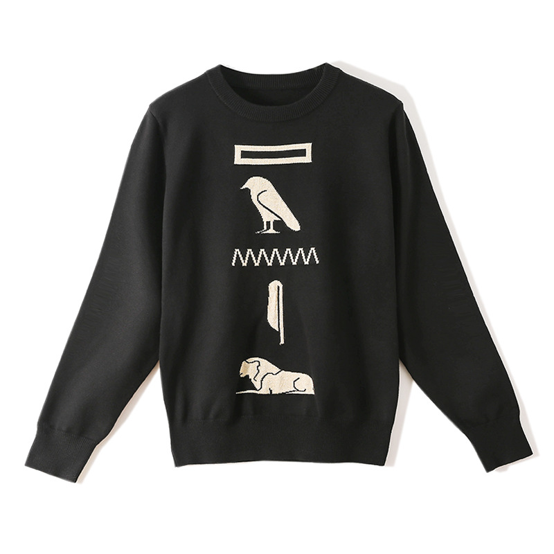 New Fashion Basic Autumn Winter Women's Knitted Sweaters Jacquard Cartoon Lion Bird Tops High Street Feminine Slim Pullovers Top