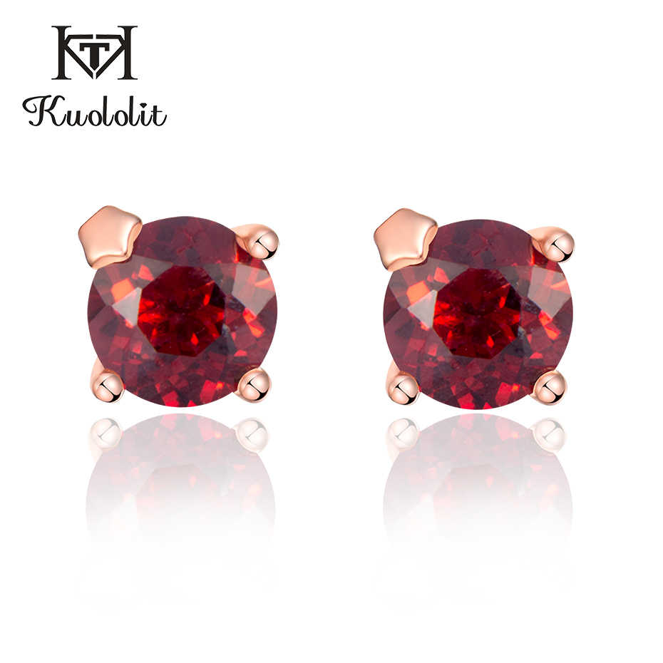 Kuololit 100% Natural Garnet Solid 925 Sterling Silver Stud Earrings For Women Wedding Engagement Fine Jewelry