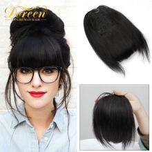 Doreen 9 inch Human Hair Bangs Clips in Real Natural Fringe hairpieces Machine Made Remy 3 Clips Blunt Bangs Natural Black(China)