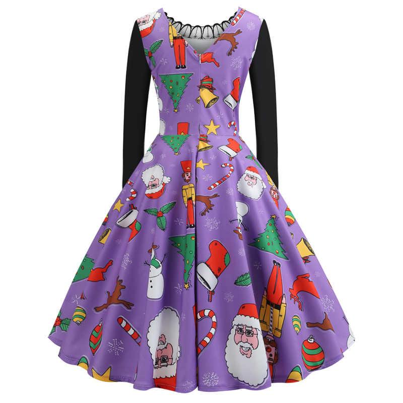Bebovizi 女性服冬クリスマスドレスプラスサイズヴィンテージエレガントなパーティーパッチワークヘップバーン紫色のドレス