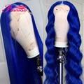 8 ''-26'' длинный синий цветной кружевной передний парик человеческие волосы парики с детскими волосами для женщин предварительно выщипанный ...