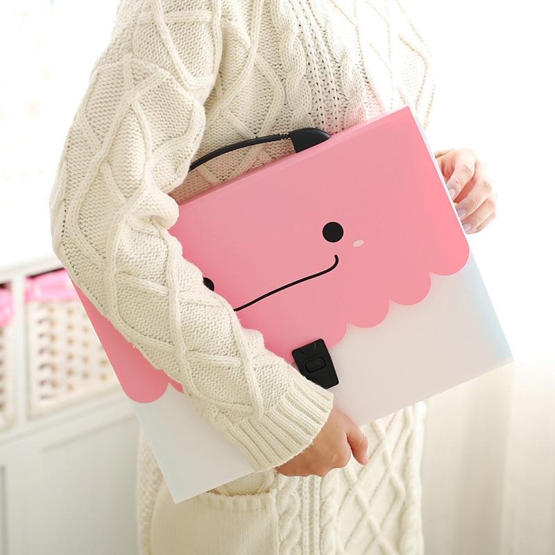 Cute A4 Handbag With Accordion Bag, Bill Pack, Multilayer Folder File Bag, Receiving Bag