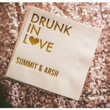 Napkins Foil-Paper Cocktail-Beverage Custom-Printed Drunk Love with Metallic Gold Wedding-Engagement