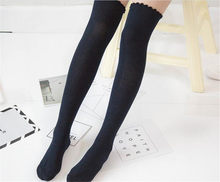 Women's Overknee Socks Stockings solid color Lolita dress socks B418(China)