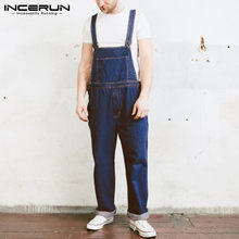 INCERUN Men Casual Suspenders Rompers Jeans Fashion Daily Joker Mens Denim Jumpsuit Bib Overalls Pockets Retro Playsuits S-5XL(China)