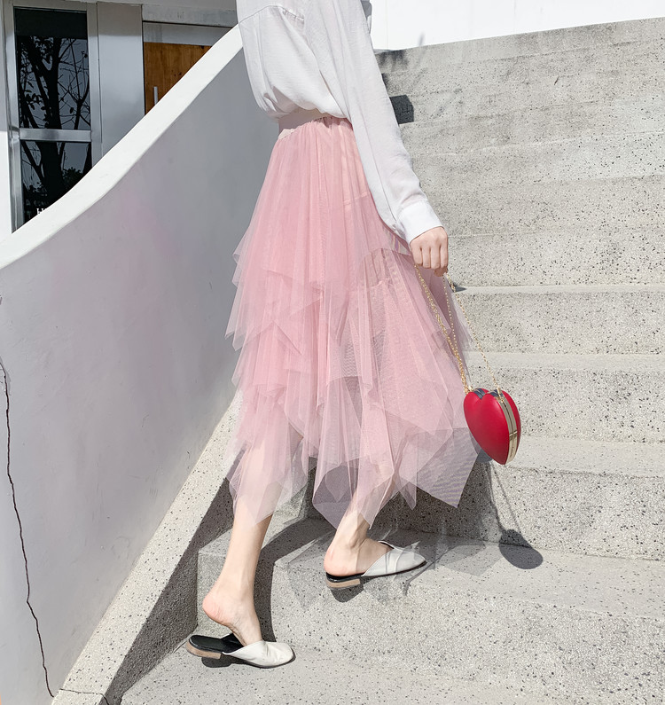 Tulle Skirts Womens Faldas Mujer Moda 19 Fashion Elastic High Waist Mesh Tutu Maxi Pleated Long Midi Saias Jupe Women's Skirt 13