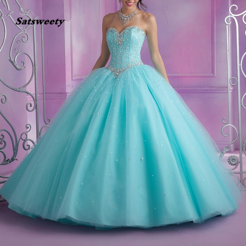 Turquoise Puffy 2020 Cheap Quinceanera Dresses Ball Gown Vestido 15 Anos Sweetheart Tulle Beaded Crystals Party Sweet 16 Dresses