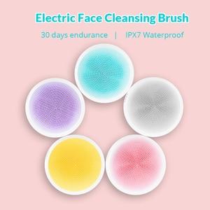 Image 1 - Xiaomi דוקו חשמלי עמוק פנים ניקוי מברשת סיליקון קולי עור Scrubber לעיסוי מופעל מכשיר ניקוי פנים