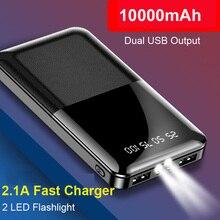 цена на Slim Power Bank 10000mAh 2 USB LED Display Powerbank External Battery Poverbank Fast Charging For iPhone Xiaomi Huawei Samsung