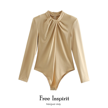 2020 Free Inspirit New Arrival  Female Bodysuits Vintage Solid  Sexy Fashion   Women's One-piece Garment 1