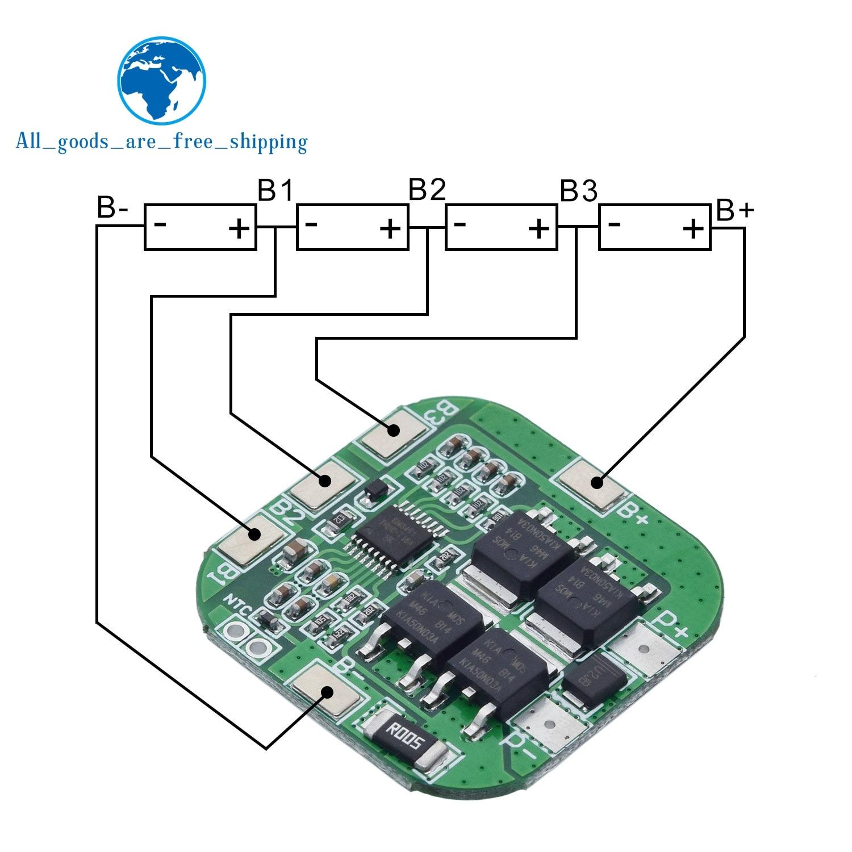 Tzt 4S 14.8 v/16.8 v 20a pico li-ion bms pcm placa de proteção da bateria bms pcm para lítio licoo2 limn2o4 18650 li bateria