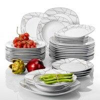 VEWEET SERENA 36 Stuk Keuken Keramische Porseleinen Borden inbegrepen 6 * Dessertbord  Soep Plaat  diner Plaat Bestek Set|Servies sets|   -