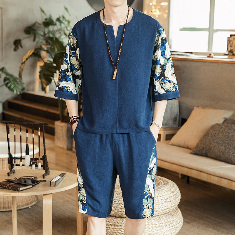 New Style Men's Chinese-style Set Flax Thin Crane Printed Two-Piece Set Short Sleeve T-shirt Collocation Shorts Two-Piece Set