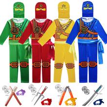 Ninjago kostiumy Cosplay chłopcy i dziewczyny kombinezon zestaw broni cosplay anime fantasy dla dzieci Halloween ubrania na przyjęcie bożonarodzeniowe tanie tanio Kombinezony i pajacyki Headgear Unisex Zestawy Cosplay ninja spandex