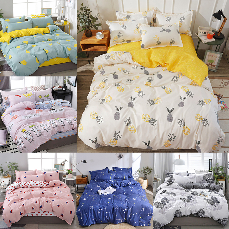 Cartoon yellow pineapple bed linens cute bedding set home Textile duvet cover bed sheet quilt cover for kid queen king size