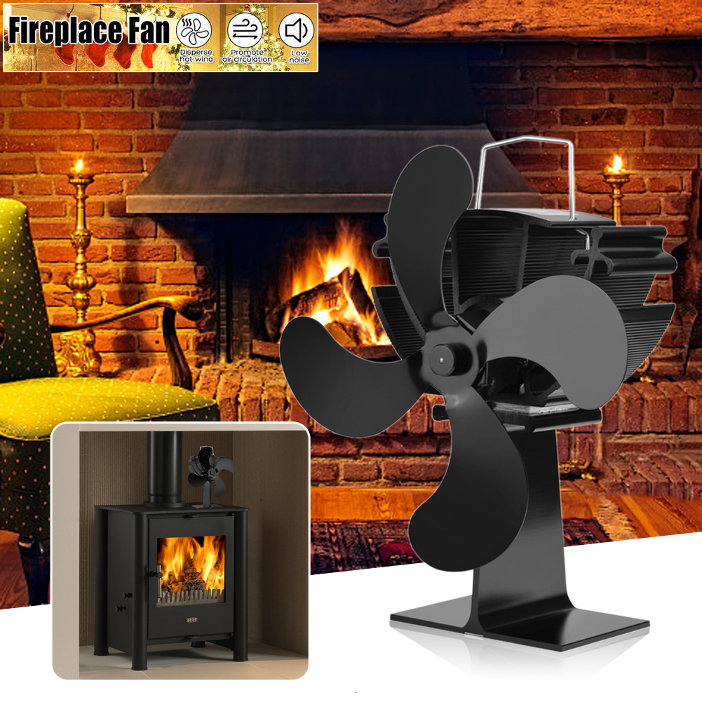 Portable 3/4 Blade Stove Fan Fireplace Fan Heat Powered Burner Friendly Quiet Home Efficient Wood Heat Fireplace Accessories