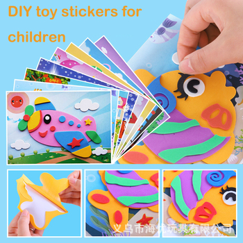 10Pcs 3D EVA Foam Sticker Puzzle Game DIY Cartoon Animal Learning Education Toys For Children Kids Multi-patterns Styles cxzyking large 20pcs puzzle diy diamond sticker handmade crystal diamond sticker paste mosaic puzzle toys for kids children