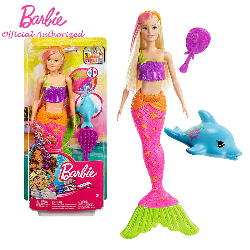 Barbie Kids Toys Doll Mermaid And Dolphin Accessory Waterproof Play Set Beautiful Sea Princess GGG58 For Girl Birhtday Gift
