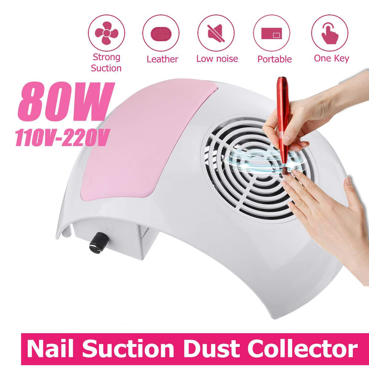 80W Nail Dust Suction Dust Collector Fan Vacuum Cleaner Manicure Machine Tools Strong Power Nail Fan Art Manicure Salon Tools