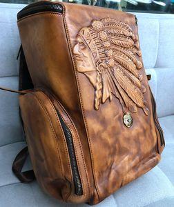 Image 4 - Vintage Leather Mens Backpack Casual Computer Bag Men Travel Backpacks Schoolbag Retro Simple Polishing Old Distressed Leather