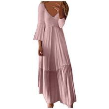 Sleeper # W401 2019 nueva moda mujer Sexy Casual alta cintura Bohe encaje sólido cuello en V Fiesta Club largo vestido платье vestidos