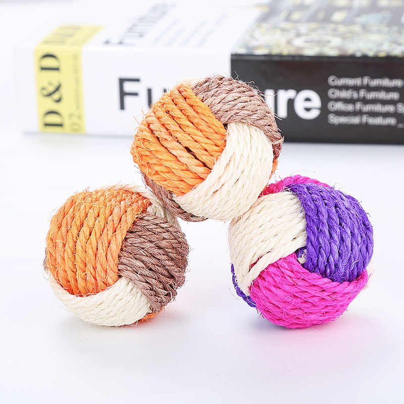 Cat Ball Toy Funny Interactive Cat Pet Toys Play Chewing Rattle Scratch Catch Pet Cat Exercise Toy Sisal Balls 1Pc