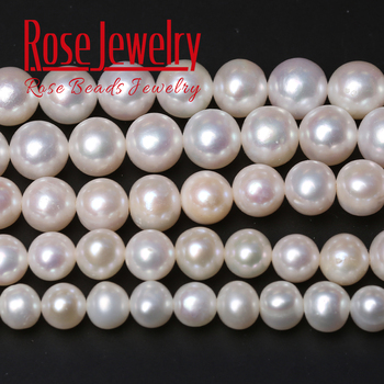 5A Quality 100% Real Natural Freshwater Cultured White Pearl Nearly Round Shape Loose Beads 14'' Strand 6-8mm For Jewelry Making snh aa beautiful new real genuine cultured 11 13mm edison round natural freshwater pearl necklace jewelry design free shipping