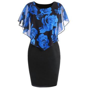 Plus Size Womens Dress Elegant Office Lady Rose Flower Print Cape Bodycon Knee Length Dress 1