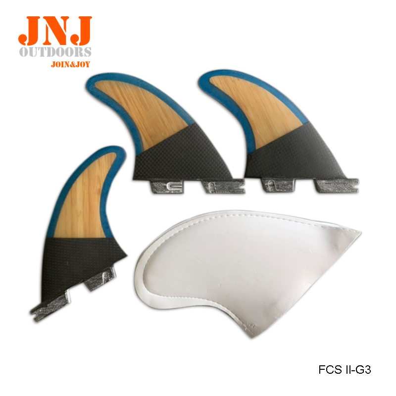 Strongest Carbon And Bamboo Standard Surfboard Fins FCS II G3 S Fins 3pcs A Set