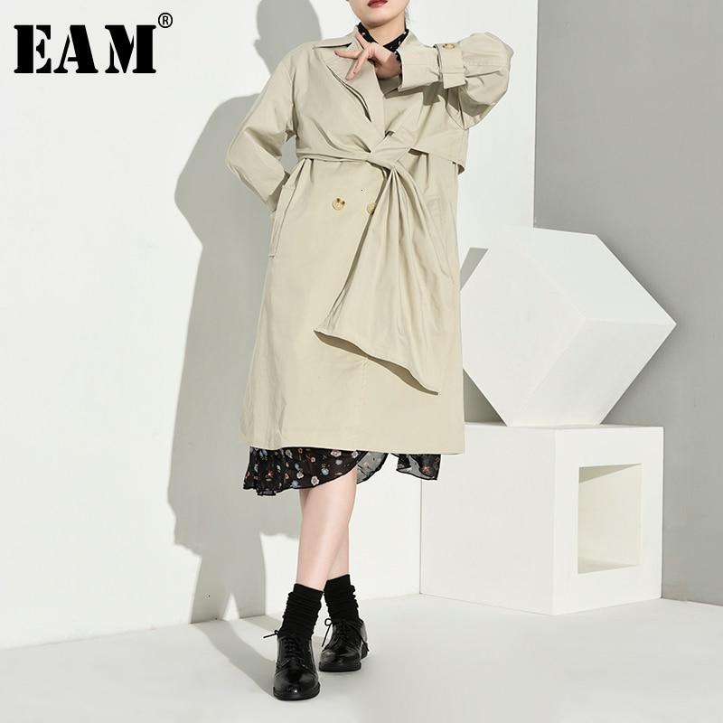 [EAM] Women Pleated Split Long Big Size Trench New Lapel Long Sleeve Loose Fit Windbreaker Fashion Tide Spring Autumn 1B76004