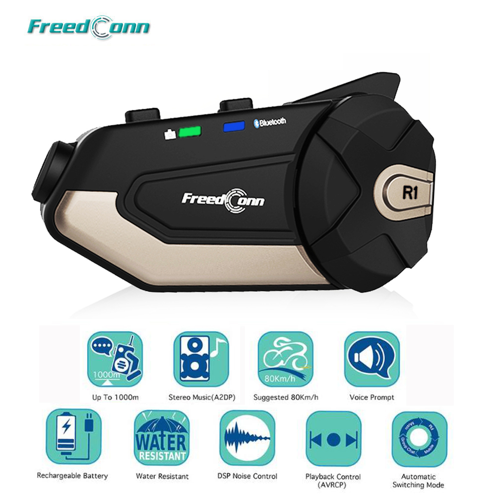 FreedConn R1 Motorcycle Intercom Helmet Bluetooth Headset Intercom 1080P HD Video Wifi Recorder Camera Intercomunicador