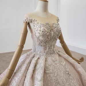 Image 4 - HTL1228 2020 árabe vestido de noche cuello lentejuelas cristal patrón de vuelta lujoso vestido de noche nuevo платья вечерние