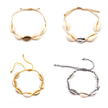 4 Pcs/ Set Fashion Gold Silver Color Metal Shell Bracelet Summer Beach Rope Chain Charm Bracelets for Women Hand Jewelry цена