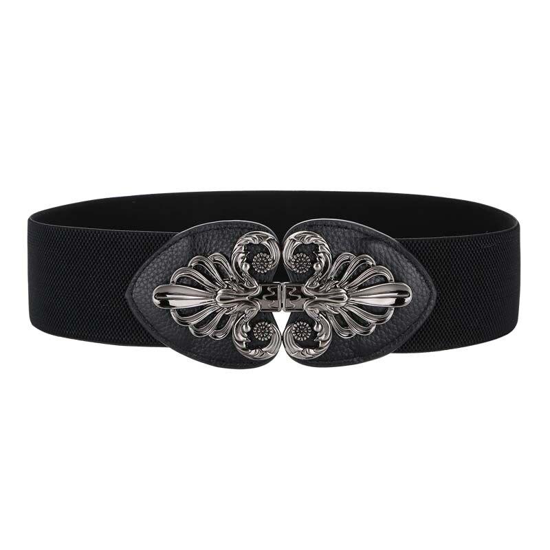 HOT Wide Hasp Waist Belt Elastic Genuine Leather Waistbands For Women Cowhide Cummerbunds Vintage Female Dress Belts Metal Alloy