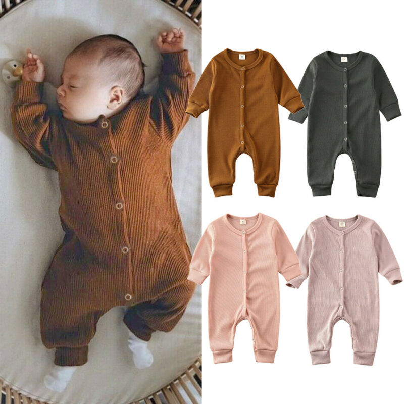 Newborn <font><b>Baby</b></font> Girl Boy Clothes Solid Ribbed <font><b>Romper</b></font> Jumpsuit Brief Long Sleeve O-Neck <font><b>Baby</b></font> <font><b>Romper</b></font> <font><b>Unisex</b></font> <font><b>Baby</b></font> Cotton Clothes 0-18M image