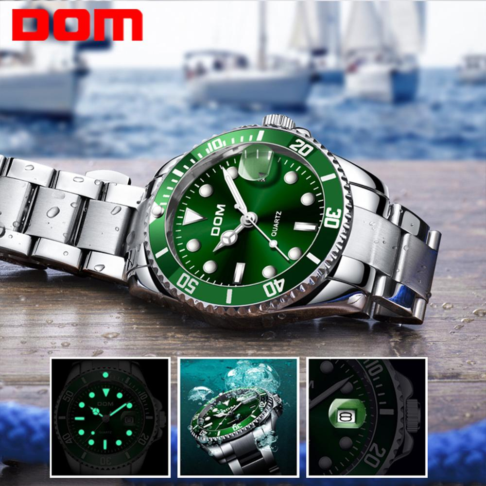 DOM Top Brand Luxury Men Sport Watches Green Waterproof Stainless Steel Wrist Watch Man Clock Fashion Wristwatch M-1263D-3M