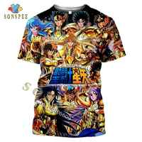 SONSPEE-Camiseta 3D de Saint Seiya para hombre y mujer, ropa informal de moda, jersey de manga corta, Anime clásico japonés, Verano