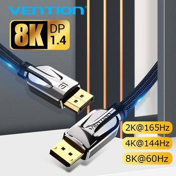 Vention DisplayPort 1 4 kabel 8K @ 60Hz szybki kabel portu wyświetlacza 32 4 gb s do komputera wideo Laptop DP 1 4 Port wyświetlacza 1 2 kabel tanie i dobre opinie Displayport (DP) Mężczyzna Mężczyzna HCA HAC DP Mini DP Kabli Pakiet 1 Blister karty slajdów Oplot Brak Multimedia