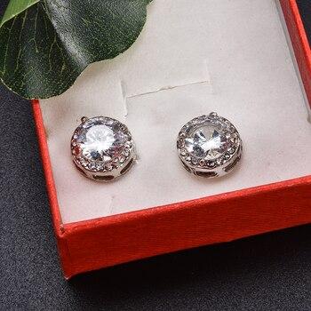 Fashion Women Girl White Rhinestone Crystal Round Metal Zircon Ear Stud Earrings Patry Earring Jewelry 3