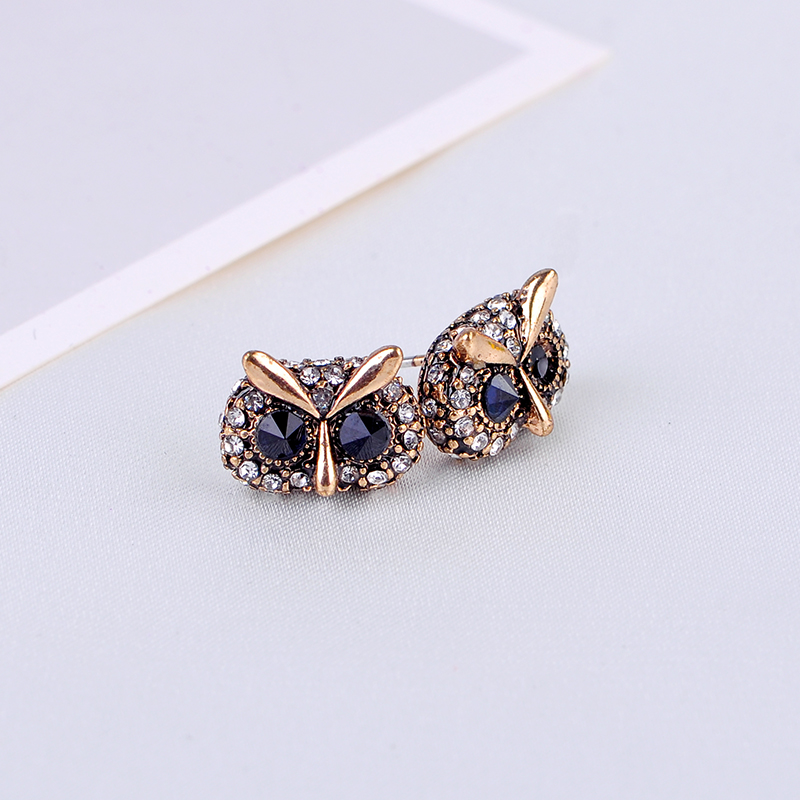 Mini Owls Stud Earrings Vintage Gold Color Crystal Ear Studs Indian Jewelry For Women Fashion Jewelry Wholesale Free Shipping