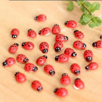 Pizies 10Pcs Mini Wooden Ladybug Shape Sponge Self-adhesive Stickers Cute Baby Fridge Sticker Action Toy Figures miniature toys image
